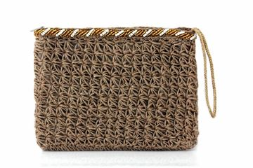 Picture of Sahara hand knitted clutch with gold and white beads. L 22 * w 28
