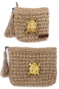 """Picture of Our """"Grab and Go"""" collection featuring the sacred scarab of Ancient Egypt, a symbol of regeneration. Attached to the crochet burlap pouches.Small L 12 * w 14"""