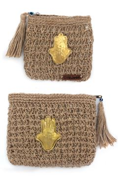 """Picture of Our """"Grab and Go"""" collection featuring the hand of Fatima on a burlap crochet pouch.Small L 12 * w 14"""