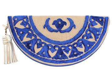 Picture of Lotus half circle blue clutch L 20 * W  38