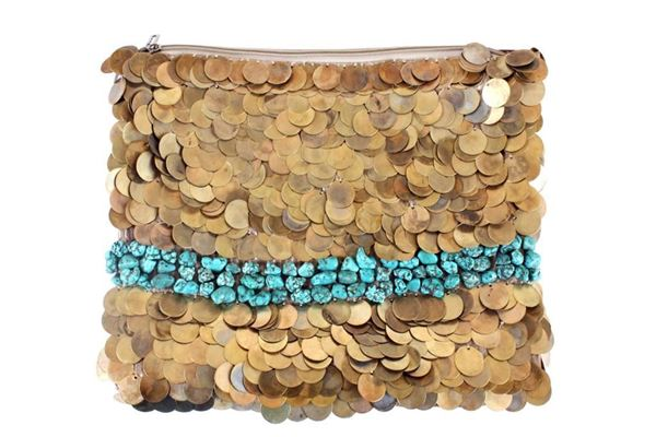 Picture of Small Golden coin clutch with embedded clusters of turquoise stones.
