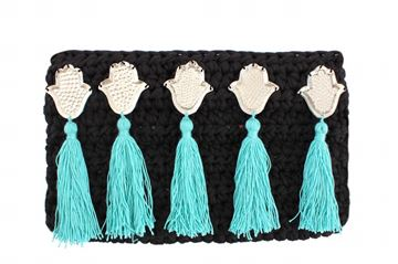 Picture of Embellished clutch in balck with kaffs and Aqua tassels. L 18 * W 31 cm