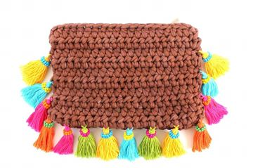 Picture of Clutch with tassels in brown . L 20 * W 29