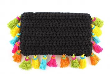 Picture of Clutch with tassels in black .L 20 * W 29