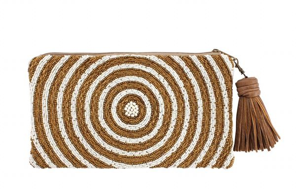 Picture of Infinity clutch with golden & white beads L 16 * W 28 cm