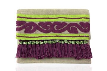Picture of Lightweight linen clutches with vibrant colored details with Purple and apple green. L 20 * W 30