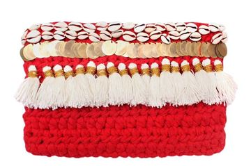 Picture of Sea Shells Red clutch with tassels and Pom coins. L 20 * W 30