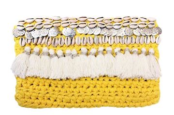 Picture of Sea Shells Yellow clutch with tassels and Pom coins. L 20 * W 30