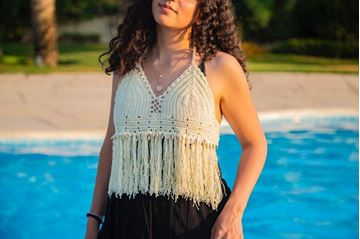 Picture of Backless cream top embellished with shells and tassels