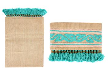 Picture of Lightweight linen clutches with vibrant colored details with Aqua L 20 * W 30