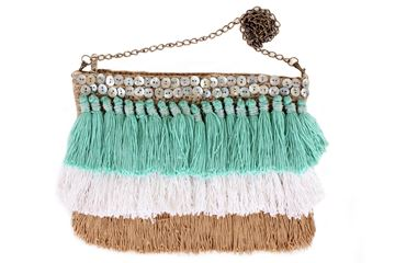 Picture of It's raining tassels! Fun and playful colorful cross bag with three color(Aqua+white+cafe). L 21 * W 27