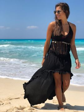 Picture of Black Crop top with tassels and shells