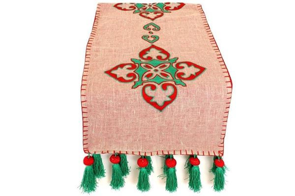 Picture of Arabesque runner with khayameya style red and green. The pompoms add a twist to the design Size 180*60cm