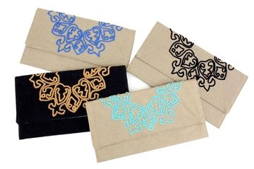Picture of Clutch with simple embroidery in black.L 17 * w 29
