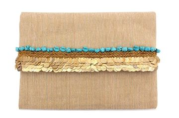 Picture of Corduroy clutch with beads and coins L 23 * W 30