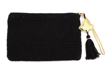 Picture of Black crochet clutch with copper pendant L 19 * W 28