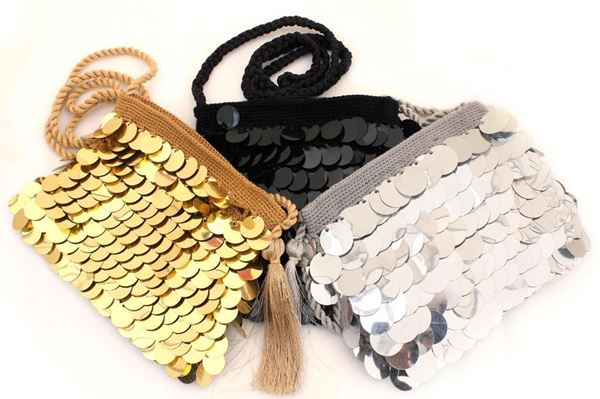 Picture of Silver Crochet bag with plactic coins all around L 18 * w 17 cm