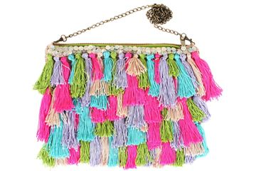 Picture of It's raining tassels! Fun and playful colorful cross bag. L 21 * W 27
