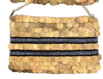 Picture of Gunny thread and cloth bag with copper coins and black beads L 20 * w 28 cm