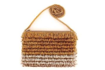 Picture of Gold & silver bead embroidery cross bag . L 15 * w 24 cm