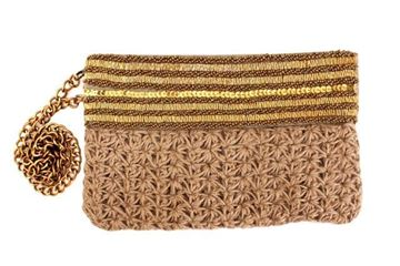 Picture of Gunny thread bag with golden beads and sequins L 18 * W  28
