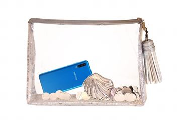 Picture of Silver transparent clutch with silver sequence     32*35
