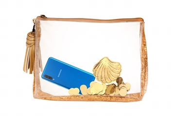 Picture of Gold transparent clutch with golden sequence     21*28