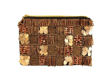 Picture of Copper bronze sequins and coins with golden embroidery on black clutch   L 16 * w 23