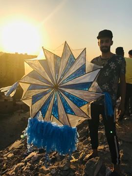Picture of 12 sided polygon fan 1.2m 5m tail with light.