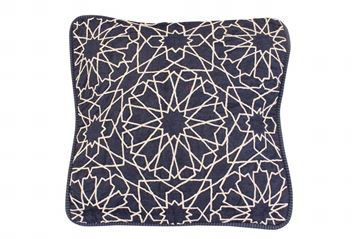 Picture of Arabe design cushion square shaped in jeans.  Size: 41x41cm