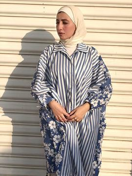 Picture of White & blue floral-striped long loose shirt.