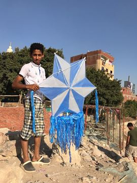 Picture of A diamond shape  kite, 1m width, 4 meter tail with light, rope 130m