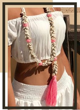 Picture of Long necklace with shells in pink