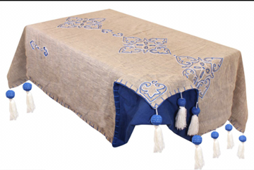 Picture of Arabesque handmade linen tablecloth with tassels and pompoms  Size: 1.5*3 cm
