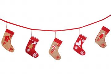 Picture of Christmas Decoration Banner with 5 dangling embroidered stockings in red (3 meters)
