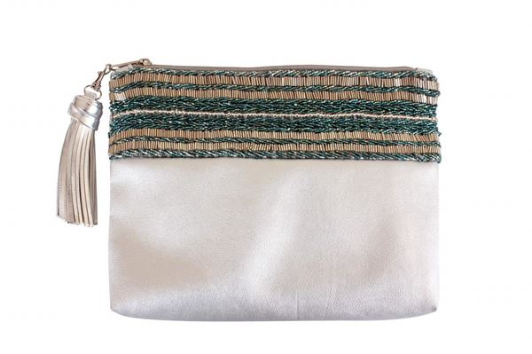 Picture of Silver leather clutch with blue & silver beads