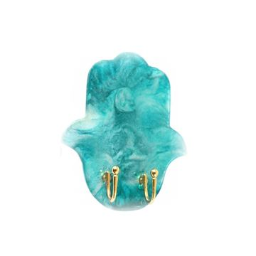Picture of Turquoise Epoxy resin key holder for wall