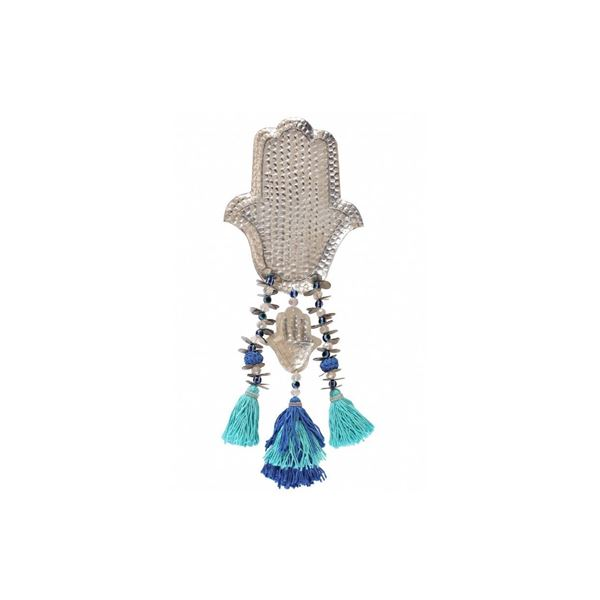 "Picture of Aluminum ""KAF"" with blue & turquoise tassels, (hangs on wall or stands on surface)"