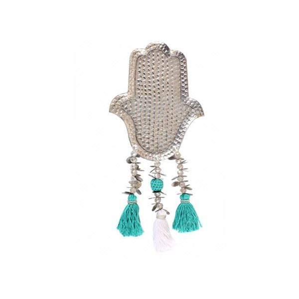 """Picture of Aluminum """"KAF"""" with turquoise & white tassels, (hangs on wall or stands on surface)"""