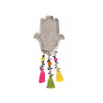 "Picture of Aluminum ""KAF"" with colorful tassels, (hangs on wall or stands on surface)"