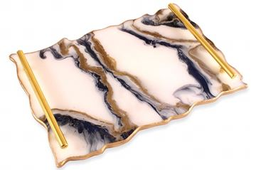 Picture of Rectangular serving tray in navy blue, white & gold  Size 37*26cm