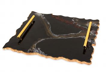Picture of Rectangular serving tray in black & gold  Size 45*31cm