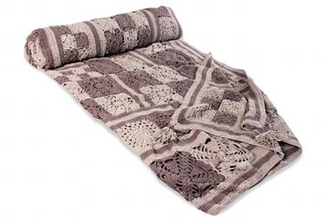 Picture of COTTON BLANKET (Beige & Brown squares)  SIZE: 2*160CM (CUSTOMIZABLE)