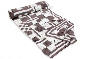 Picture of COTTON BLANKET (White & Brown squares)  SIZE: 2*160CM (CUSTOMIZABLE)