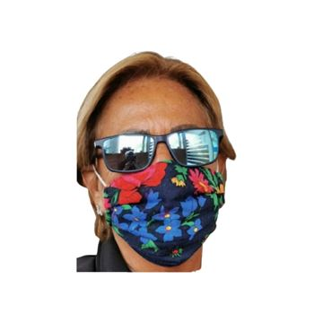 Picture of FLORAL MASKS WITH ELASTIC BANDS IN NAVY BLUE NOTE: COLORS WILL VARY DEPENDING ON THE MATERIAL AVAILABLE. - OUR MASKS ARE COMPOSED OF 3 LAYERS INCLUDING A FILTER AND A NOSE SUPPORT.