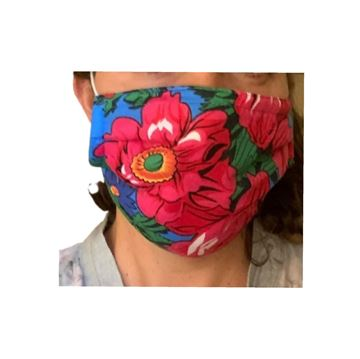 Picture of FLORAL MASKS WITH ELASTIC BANDS IN BLUE NOTE: COLORS WILL VARY DEPENDING ON THE MATERIAL AVAILABLE. - OUR MASKS ARE COMPOSED OF 3 LAYERS INCLUDING A FILTER AND A NOSE SUPPORT.