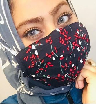 Picture of NAVY BLUE FLORAL - MASKS ARE COMPOSED OF 3 LAYERS INCLUDING A FILTER AND A NOSE SUPPORT