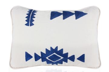 Picture of Klim Cushion with navy blue geometrical patterns (35 x 55cm)