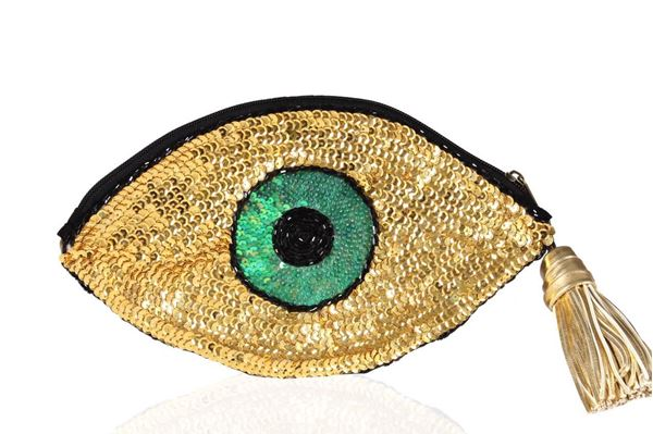 Picture of Golden green eye sequins clutch Size 26*14 cm