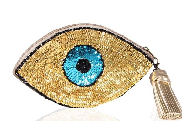 Picture of Golden blue eye sequins clutch Size 26*14 cm